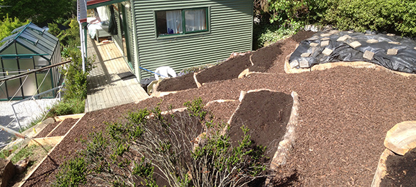 Terrace beds before planting